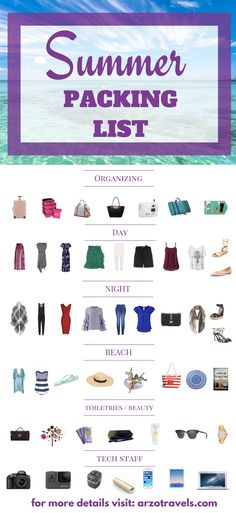 A comprehensive list: what to pack for your next summer trip. From beauty and toiletries to clothes, luggages, technical staff and more things to pack. Click to find out more.