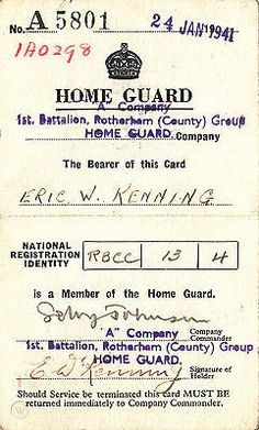 WW2 Rotherham Home Guard 1st batt service card | #540150772 Group Home, Home Guard, Ww2, Identity, Cards, Maps, Personal Identity, Playing Cards