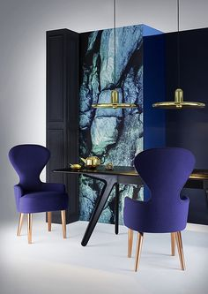 Besides the dining table there's another design piece that is important on a dining room design. Room Decor Ideas selected the 20 luxury dining chairs. Dining Furniture, Furniture Design, Dining Chairs, Dining Rooms, Chair Design, Room Chairs, Art Furniture, Purple Furniture, Blue Chairs