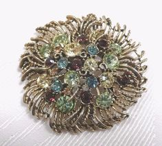 Sparkling Vintage Graziano 'Fruit Salad' Rhinestone Brooch Pin Signed | eBay