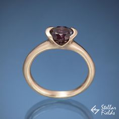 6mm alexandrite semi-bezel engagement ring in 14k rose gold