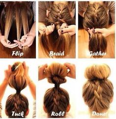 French braid underneath to a sock bun