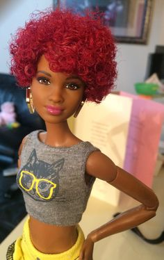 https://flic.kr/p/H2o8mb | Barbie Fashionistas Doll 33 Fab Fringe - Tall | Love this gal. She's beautiful, skin matches the black made to move barbie and her hair is very versatile in terms of styling. I plan on cutting a few styles on additional dolls in the future.