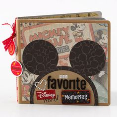 disney vaca album: mouse ears made from cutting circle from coordinating paper and pieced together