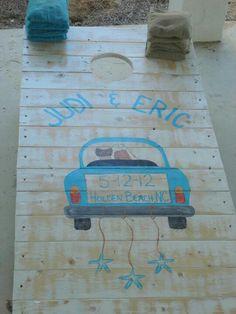 Beach wedding corn hole boards