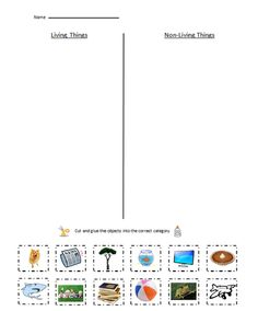 Printables Living Vs Nonliving Worksheet living vs nonliving worksheet worksheets for school kaessey cut and paste assessment on pinterest
