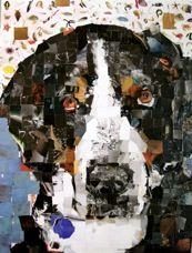 Collage portrait made from recycled magazines...