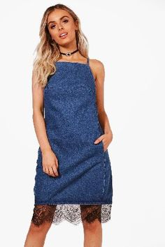 #boohoo High Neck Lace Trim Denim Pinafore Dress - mid #Billie High Neck Lace Trim Denim Pinafore Dress - mid blue