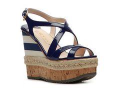 Prada Patent Leather Stripe Wedge Sandal Wedges Sandal Shop Women's Shoes - DSW