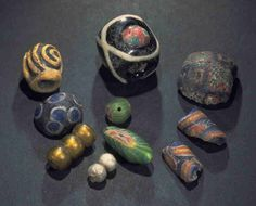 Glass beads from excavation of Viking town Kaupang, Larvik in Norway