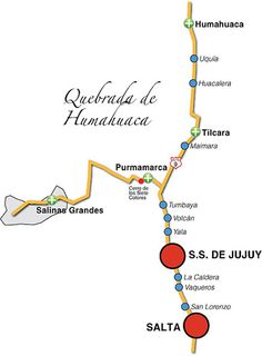 Resultado de imagen de quebrada de humahuaca mapa