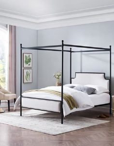 Canopy Bed With Upholstered Headboard Queen Size Canopy Bed, Iron Canopy Bed, Canopy Bed Frame, Canopy Beds, Canopy Bedroom, Fabric Canopy, Metal Canopy, Shiplap Headboard, Queen Headboard