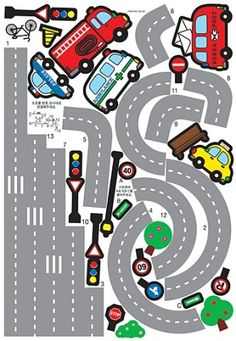 Kids Wall Decal Deco Point Sticker / Race Track Wall Decal Sticker / Car and Road Street Sticker / Kids Wall Decals, Wall Decal Sticker, Preschool Activities, Activities For Kids, Decoration Creche, Diy For Kids, Crafts For Kids, Mouse Crafts, Diy And Crafts