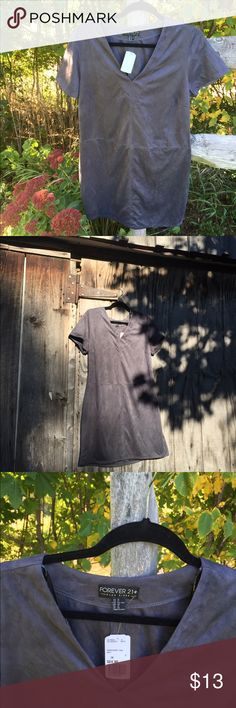 *please read description* NWT Grey faux-suede F21 As you can see, it doesn't photograph so well. I promise it's really a very cute dress. I love the color & the fabric is super soft-not much in the way for stretch unfortunately. I suppose this could fall in body-con territory. The seaming adds an interesting detail to an otherwise rather uneventful dress but...if you know how to rock this thing-you'd be a utter knockout. The V-neck is very *cough* cleavage flattering & yo booty be on grand…