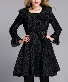 Another great find on #zulily! Black Swirl Belted Coat--VERY PRETTY!