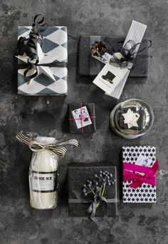 Gift wrapping in black, white and grey