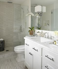 "Contemporary 3/4 Bathroom with Flat panel cabinets, Marble subway tile (3""x6"" tile), Rain shower, Handheld showerhead"