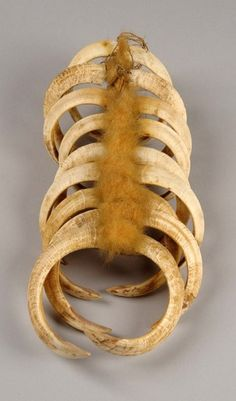 Papua New Guinea | Breast ornament made from 9 boar tusks, combined with cord and set with kuskus pelt in the middle | 90€ ~ sold