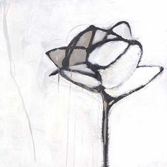 Abstract flower painting in greyscale. This is part of a series of four.