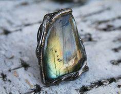 labradorite ring statement ring gemstone by Blacksmithworkshop