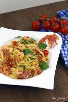 Pasta nach Saltimbocca Art mit Shrimps ~ ein italienischer Küchenklassiker variiert -