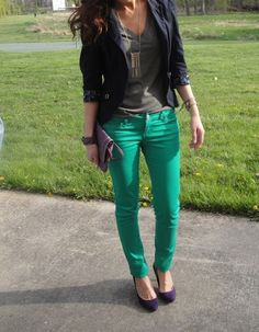 Green pant outfit ideas  I just got a pair of green skinny jeans