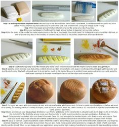 The Enchanted Gallery: How to make miniature food with polymer clay - Bread boule and baguette tutorial Sculpey Clay, Polymer Clay Charms, Polymer Clay Projects, Clay Clay, Barbie Food, Doll Food, Barbie Bakery, Polymer Clay Miniatures, Polymer Clay Creations
