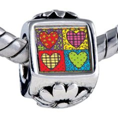 Pugster Bead Heart Quilt Beads Fits Pandora Bracelet Pugster. $12.49. Fit Pandora, Biagi, and Chamilia Charm Bead Bracelets. It's the photo on the flower charm. Bracelet sold separately. Hole size is approximately 4.8 to 5mm. Unthreaded European story bracelet design