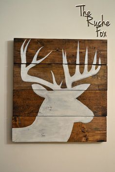 Reclaimed Wood  Deer Silhouette Acrylic Painting by TheRucheFox, $55.00