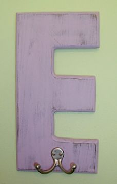 monogram hooks, hallway coats/book bags, bathroom towel, wooden letter+paint+hook(salvage)