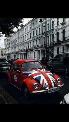 Vintage VW Bug with Union Jack Bonnet