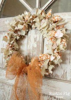 Coat Hanger Fall Rag Wreath