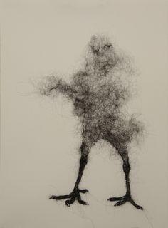 Bird Leg Gesture 1 by Stephanie Metz.  Wool on Paper