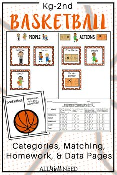 Younger Elementary targets receptive and expressive vocabulary with category sorting, a matching game with WH- questions, and a homework page PLUS data collection pages for you! Speech Language Pathology, Speech And Language, Language Arts, English Language, Speech Therapy Activities, Language Activities, Basketball Books, Receptive Language, Vocabulary Cards