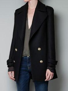 black wool epaulet coat