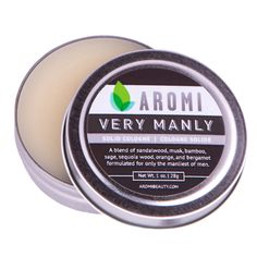 Aromi - Very Manly Solid Cologne, Very Manly Solid Cologne is a travel-friendly, portable travel accessory for men!  This solid cologne is a moisturizing blend of natural waxes and can also be used as a hair wax, cuticle cream, beard conditioner, and can be used to moisturize rough skin.  solid cologne | manly cologne | cologne | travel accessory | men's birthday gift | funny men's gift  | best boy gift ideas | manly gift ideas |  (http://www.aromibeauty.com/very-manly-solid-cologne/)