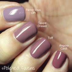 OPI Parlez-Vous OPI? vs Taupe Drawer by Pure Ice vs Toff by Butter London vs Angora Cardi by Essie