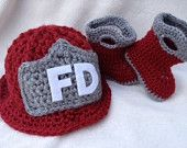 Baby Crochet Fire hat and Boots Set