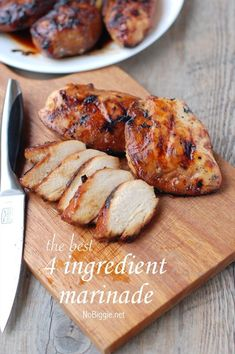 the best 4 ingredient chicken marinade: 1 cup brown sugar 1 cup olive oil 1/2 cup soy sauce 1/2 cup vinegar.