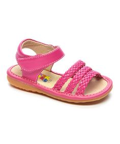 Hot Pink Multi-Strap Squeaker Sandal