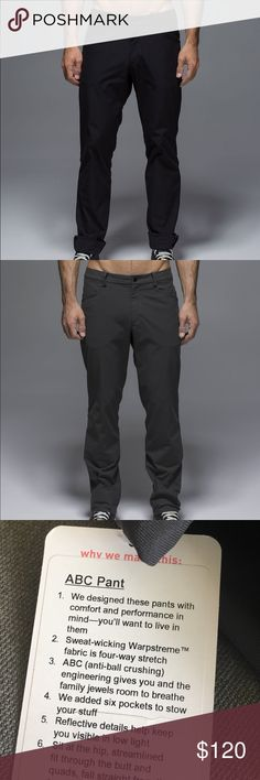ABC pants lululemon men black 38, dArk gray 40 new NWT!  Sz 38 in black.  Sz 40 in dco dark gray. Please check out my closet I have tons of Lululemon stuff for sale ☺️.  Inseam are 34inches.  Waist laying flat on sz 38 is 19.  Sz 40 Laying flat is 20. lululemon athletica Pants