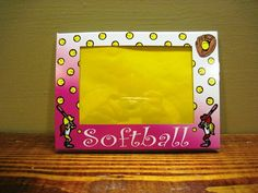 Softball Picture Frame by PictureFrameMe on Etsy, $5.00