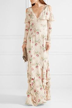 Vilshenko - Bonita Printed Silk-georgette Gown - Cream - UK8