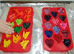 ❤ This idea for Jazmine's class for Valentines Day!! So excited!   Party favor -- diy heart shaped crayons would be cute for classroom gifts or kids birthday party!