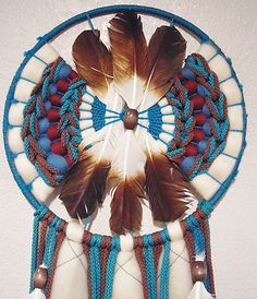Native American Navajo Indian Mandella Dream Catcher Feathers Hand Made LARGE