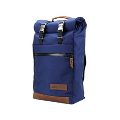 Navy Blue w/ Tan Leather Roll Top Backpack Free by RuggedMaterial