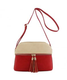 Buy Double Zip Tassel Accent Medium Crossbody Bag - Nude/Red - and More Fashion Bags at Affordable Prices. Fashion Bags, Womens Fashion, Satchel Handbags, Luxury Handbags, Salvatore Ferragamo, Tassels, Vogue, Nude