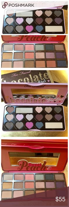 Bundle NEW Too Faced Eyeshadow Pallettes NEW Too Faced Eyeshadow Pallettes, one Peach Pallette, one Chocolate Bon Bon Pallette. Perfect, never even swatched. Too Faced Makeup Eyeshadow