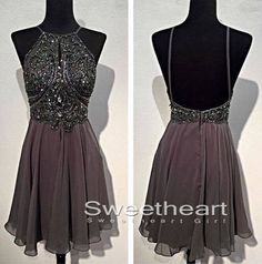 Cute sequin chiffon backless short prom dress 2016 for teens, homecoming dress