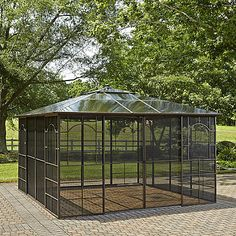 Grand Resort Square 12' x 12' hardtop gazebo with screen doors